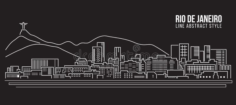 Linha projeto da construção da arquitetura da cidade da ilustração do vetor da arte - cidade de Rio de janeiro ilustração stock