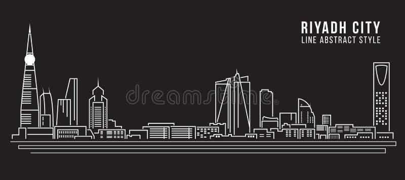 Linha projeto da construção da arquitetura da cidade da ilustração do vetor da arte - cidade de Riyadh ilustração stock