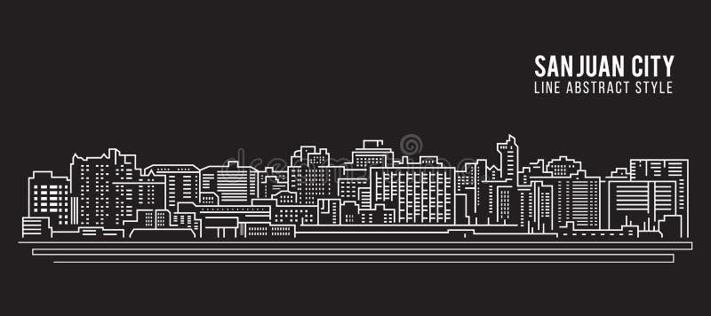 Linha projeto da construção da arquitetura da cidade da ilustração do vetor da arte - cidade de San Juan ilustração do vetor