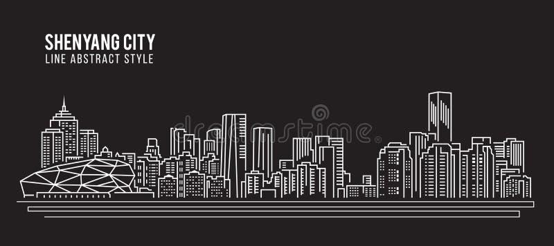 Linha projeto da construção da arquitetura da cidade da ilustração do vetor da arte - cidade de Shenyang ilustração royalty free