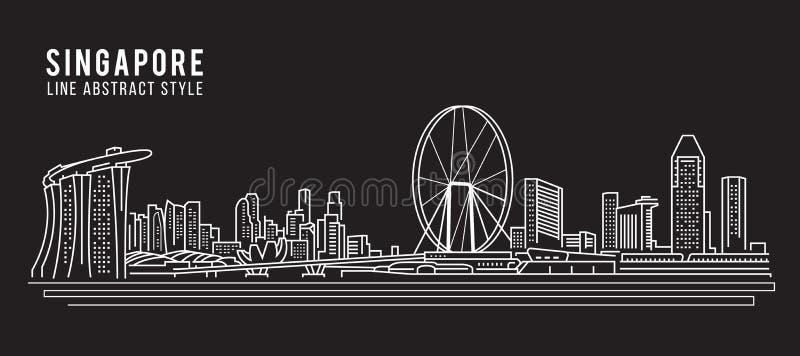 Linha projeto da construção da arquitetura da cidade da ilustração do vetor da arte - cidade de Singapura ilustração do vetor