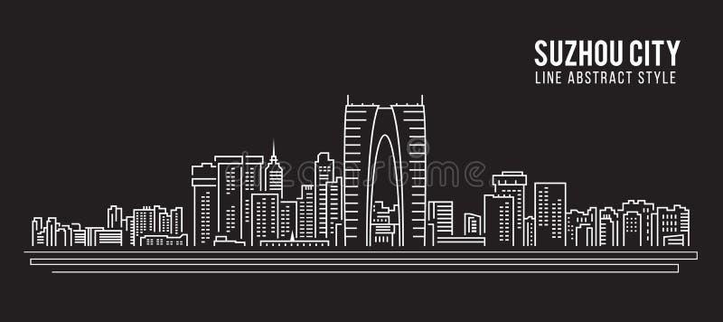 Linha projeto da construção da arquitetura da cidade da ilustração do vetor da arte - cidade de Suzhou ilustração royalty free