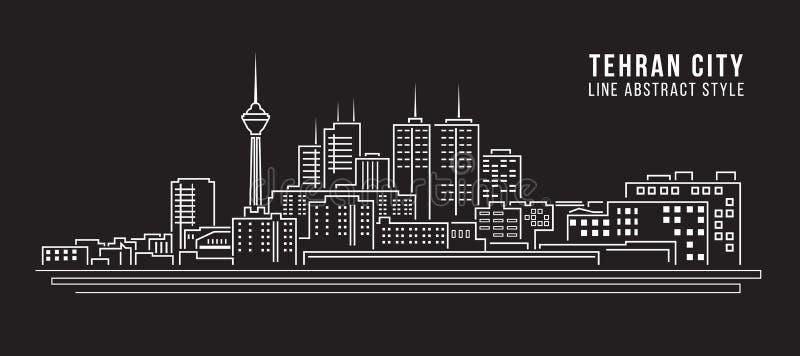 Linha projeto da construção da arquitetura da cidade da ilustração do vetor da arte - cidade de tehran ilustração do vetor