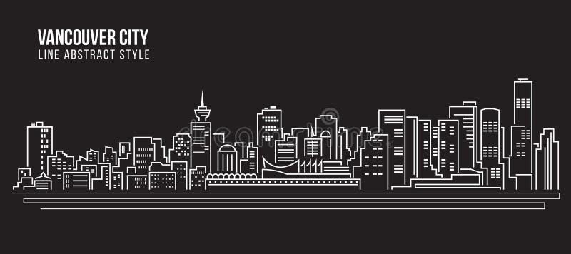 Linha projeto da construção da arquitetura da cidade da ilustração do vetor da arte - cidade de Vancôver ilustração royalty free