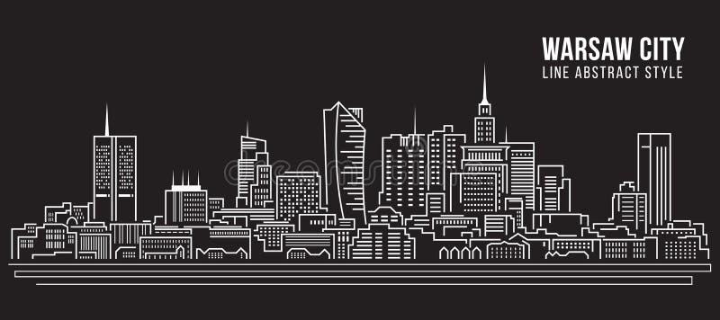 Linha projeto da construção da arquitetura da cidade da ilustração do vetor da arte - cidade de Varsóvia ilustração do vetor