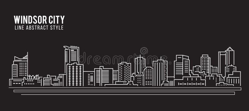 Linha projeto da construção da arquitetura da cidade da ilustração do vetor da arte - cidade de Windsor ilustração do vetor