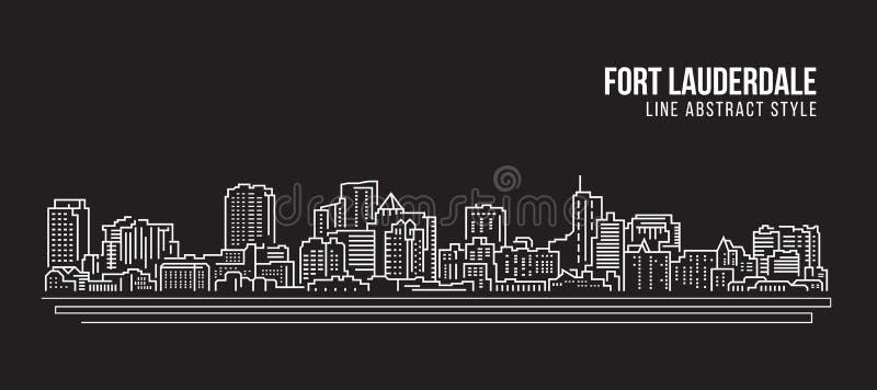 Linha projeto da construção da arquitetura da cidade da ilustração do vetor da arte - cidade do Fort Lauderdale ilustração stock