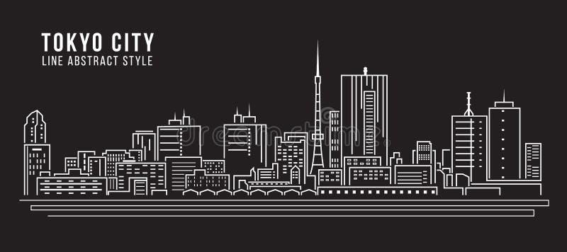 Linha projeto da construção da arquitetura da cidade da ilustração do vetor da arte - cidade do Tóquio ilustração stock