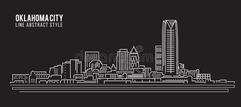 Linha projeto da construção da arquitetura da cidade da ilustração do vetor da arte - Oklahoma City ilustração stock