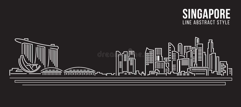 Linha projeto da construção da arquitetura da cidade da ilustração do vetor da arte - Singapura ilustração do vetor