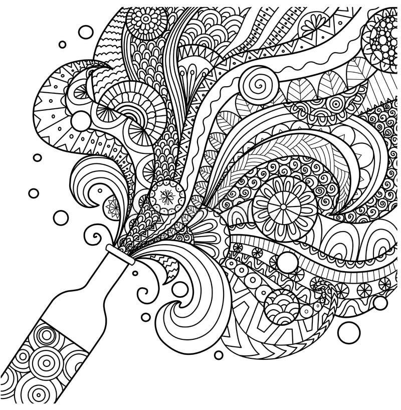 Linha projeto da garrafa de Champagne da arte para o livro para colorir para o adulto, o cartaz, o cartão e o elemento do projeto ilustração do vetor