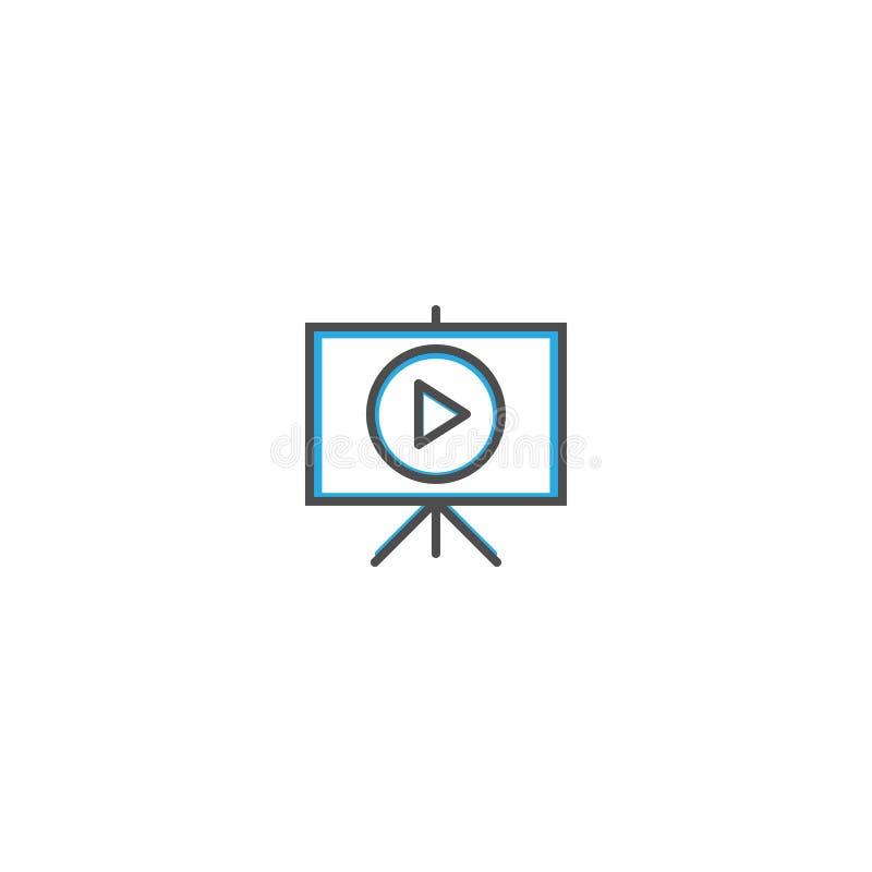 Linha projeto do ícone da apresentação Ilustração do vetor do ícone do negócio ilustração do vetor
