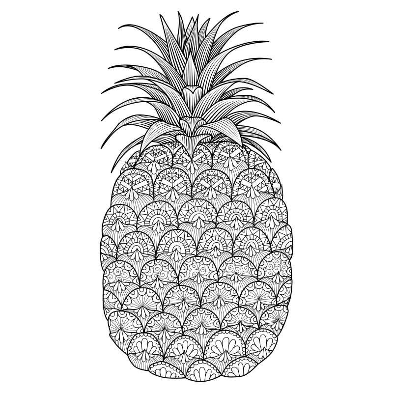 Linha projeto do abacaxi da arte ilustração stock