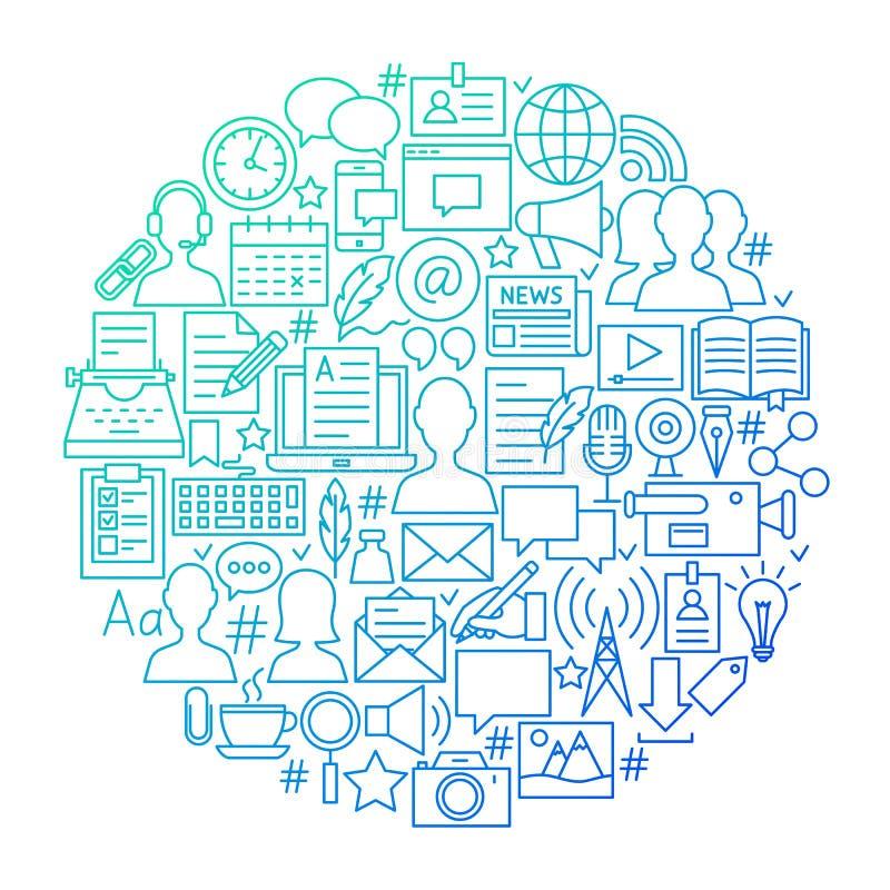 Linha projeto do blogue do círculo do ícone ilustração stock