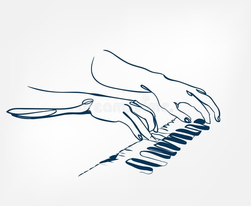 Linha projeto do esboço do sintetizador das chaves do piano das mãos ilustração royalty free