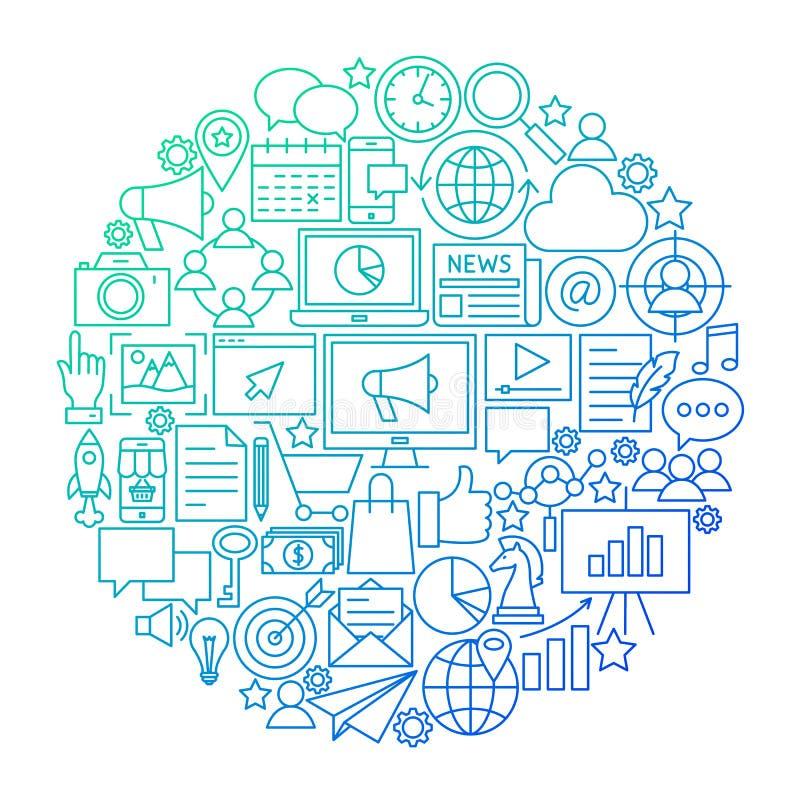 Linha projeto do mercado do círculo do ícone ilustração stock
