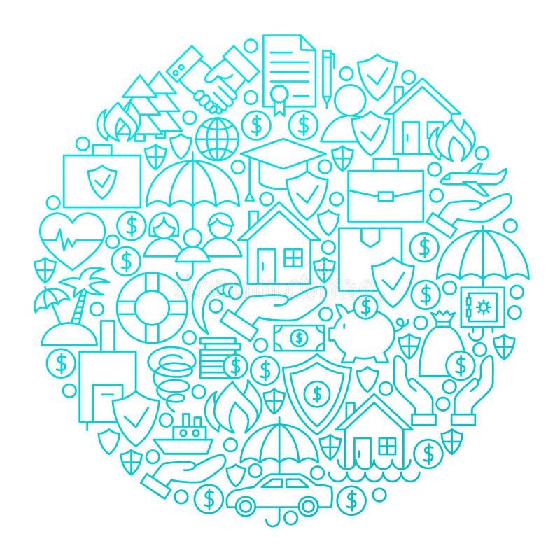 Linha projeto do seguro do círculo do ícone ilustração do vetor
