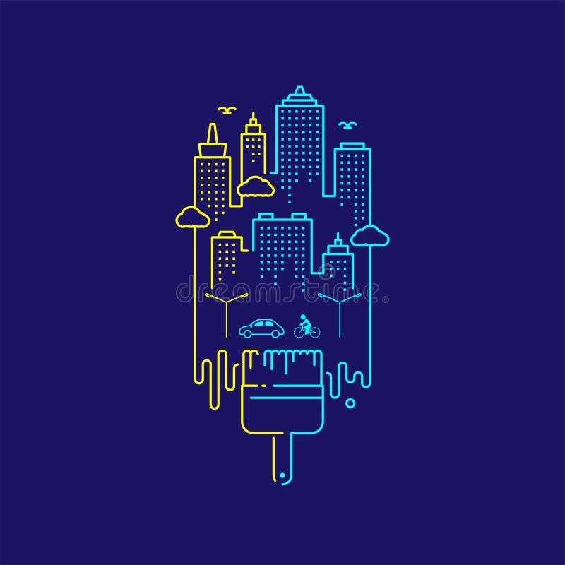 Linha projeto do traço do grupo do curso do esboço da escova de pintura da cerda, ilustração do cocept da cidade isolada em escur ilustração do vetor