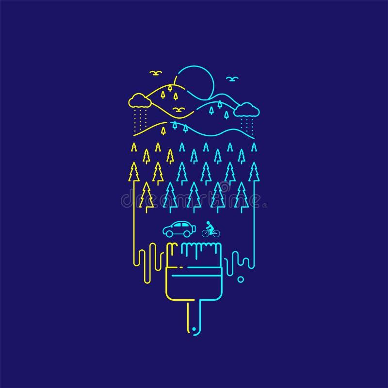 Linha projeto do traço do grupo do curso do esboço da escova de pintura da cerda, ilustração do cocept da natureza isolada em esc ilustração stock