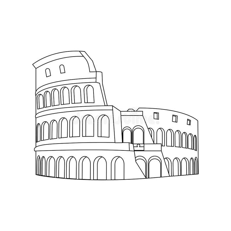 Linha projeto medieval da arquitetura de Roma do coliseu ilustração do vetor