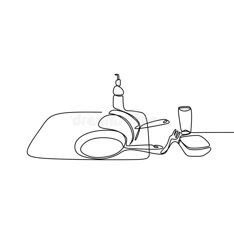 Linha projeto minimalista de tiragem contínuo do material de cozinha um no fundo branco ilustração royalty free