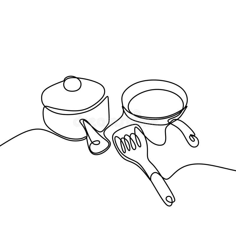 Linha projeto minimalista de tiragem cont?nuo do material de cozinha um no fundo branco ilustração stock