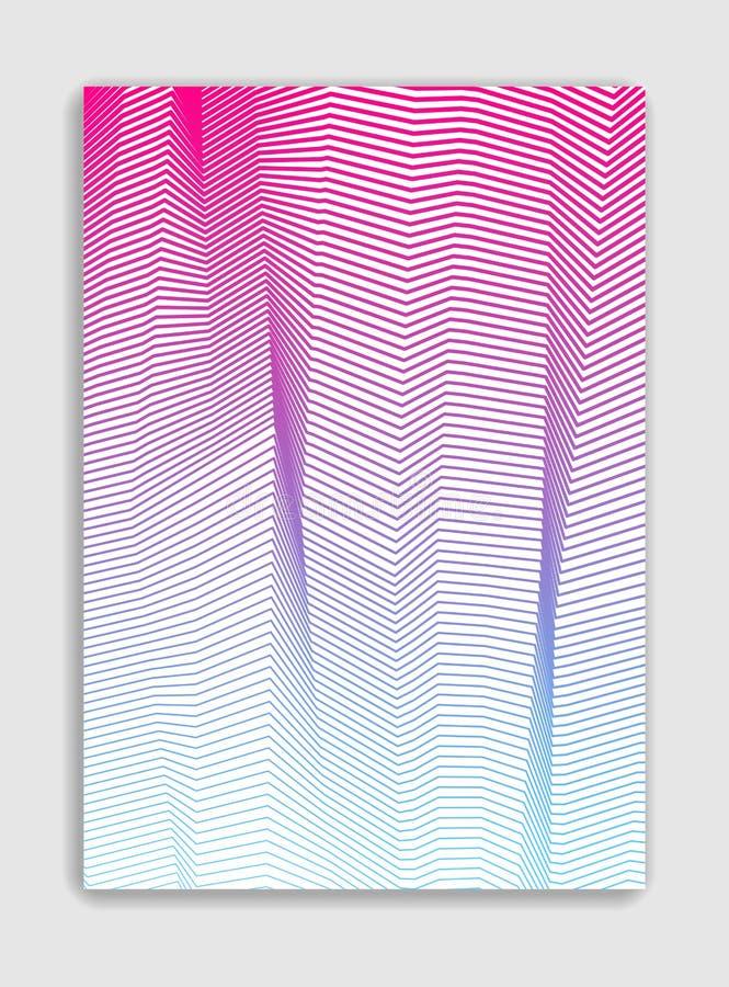 Linha projeto moderno minimalistic do folheto do vetor da arte, templ da tampa ilustração stock