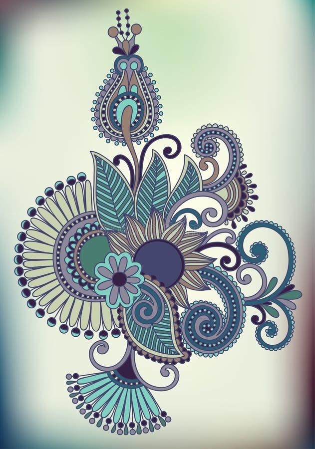 Linha projeto ornamentado da tração da mão da flor da arte ukrainian ilustração royalty free