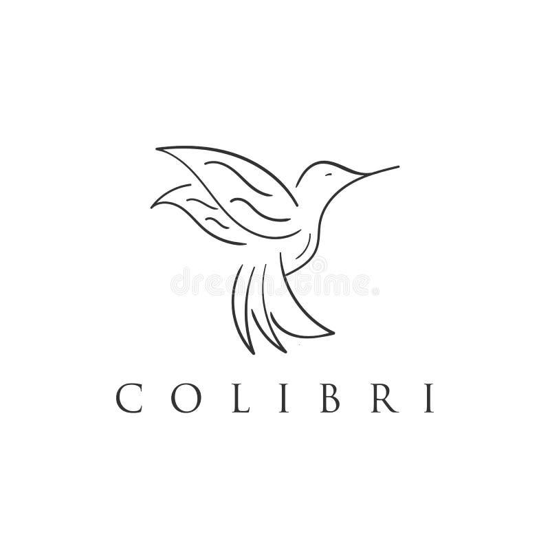 Linha projetos do colibri do ícone do logotipo ilustração do vetor