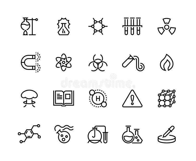 Linha química ícones Produtos químicos tóxicos, equipamento de laboratório, fórmula molecular da pesquisa científica Símbolos cie ilustração stock