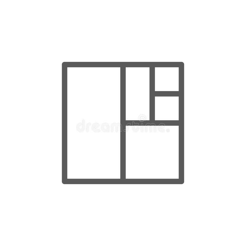 Linha quadrada ícone da relação dourada ilustração do vetor