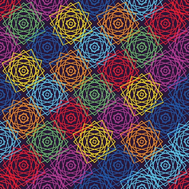 Linha quadrada teste padrão sem emenda do arco-íris da simetria cor-de-rosa ilustração royalty free