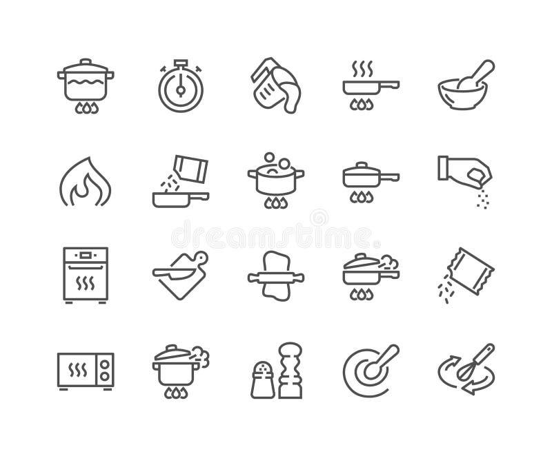 Linha que cozinha ícones ilustração do vetor