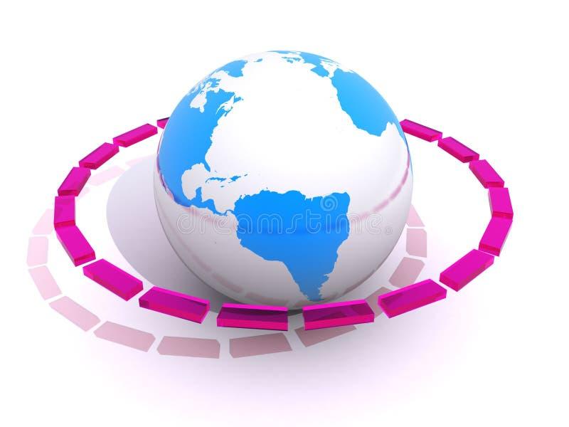 Linha quebrada em torno do globo do mundo ilustração do vetor