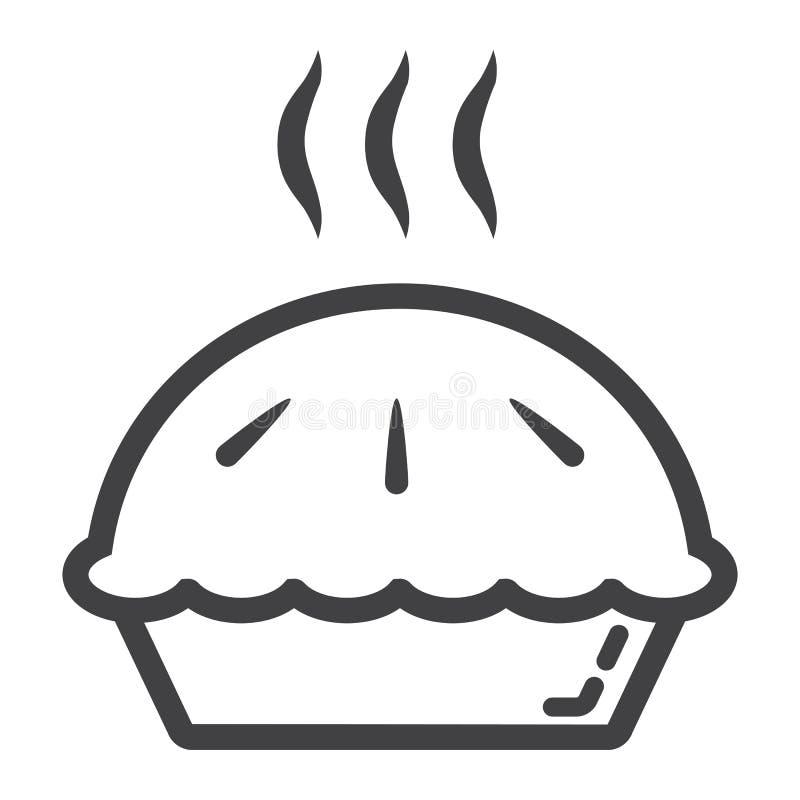 Linha quente ícone da torta, alimento e bebida, sinal da padaria ilustração stock