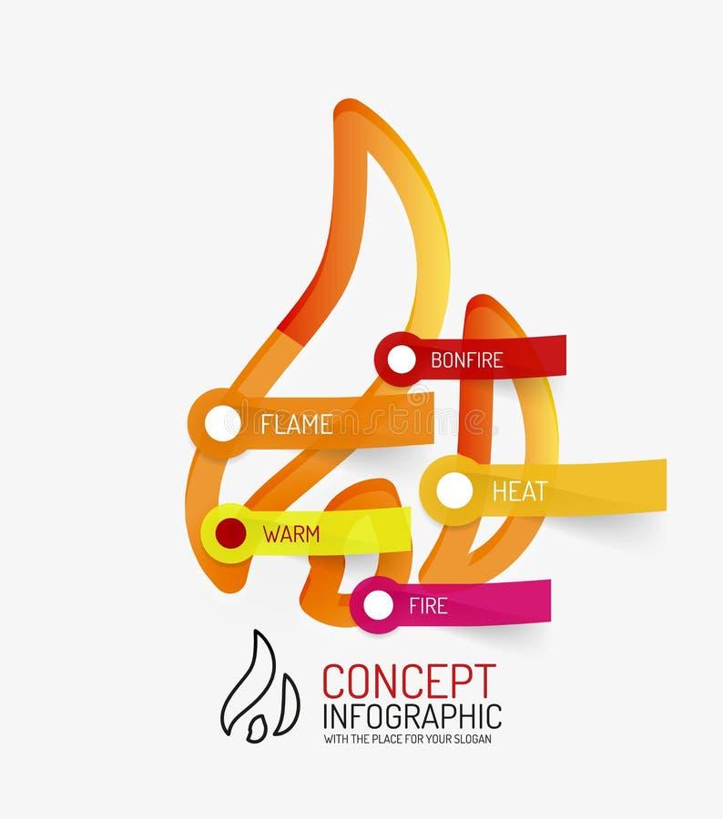 Linha quente conceito infographic da fogueira do estilo ilustração stock