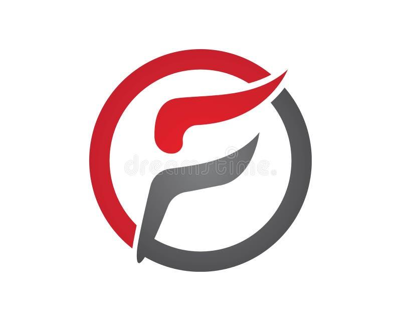Linha rápida monograma do logotipo da letra de F ilustração do vetor