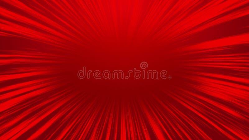 Linha radial cômica vermelha fundo da velocidade do sumário, fundo dos desenhos animados ilustração royalty free