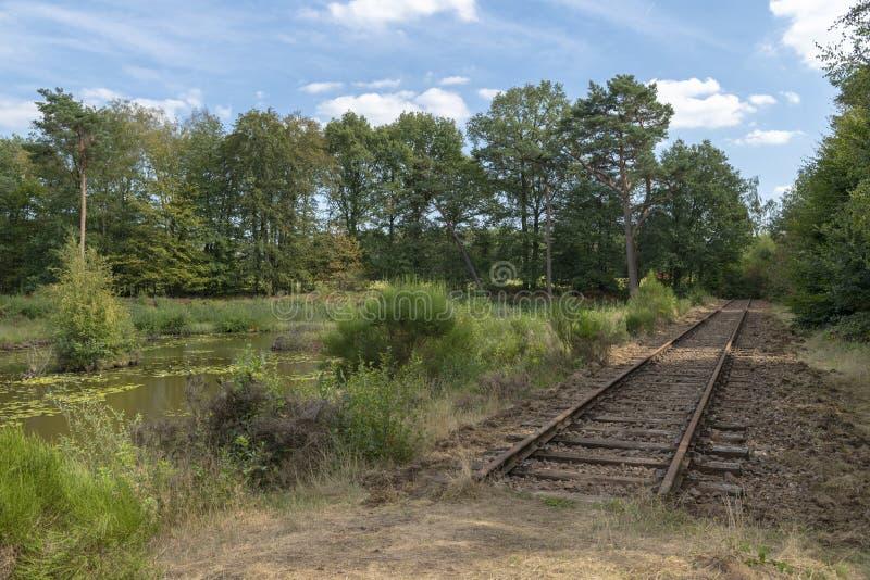 Linha railway velha curso de Borkense nos Países Baixos imagem de stock royalty free