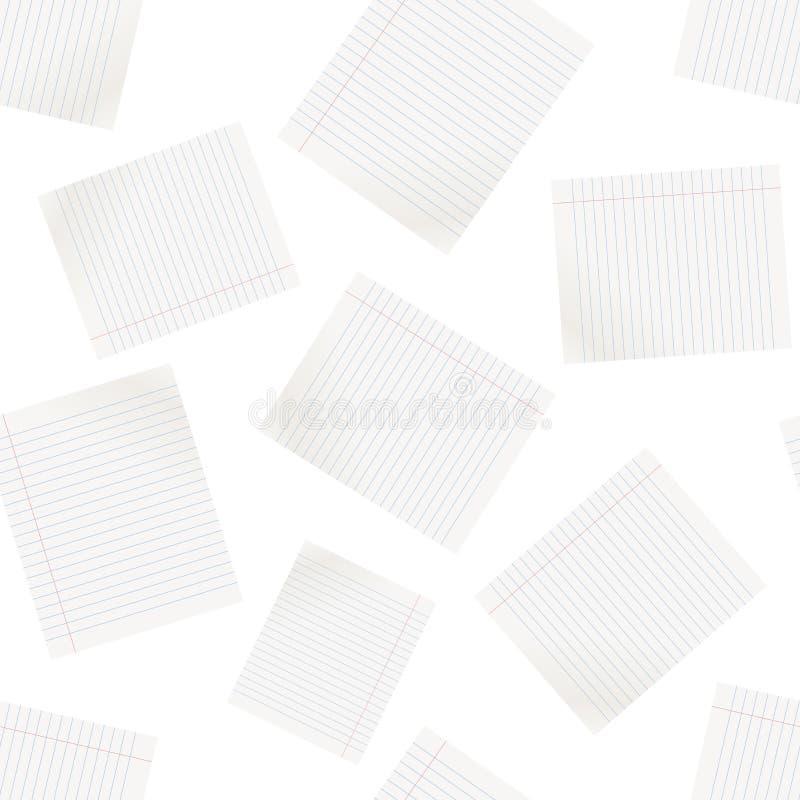 Linha realística fundo sem emenda do teste padrão da folha do papel Negócios ilustração stock