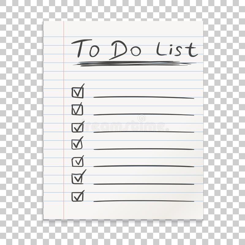 Linha realística nota do papel Para fazer o ícone da lista com a mão tirada text ilustração stock