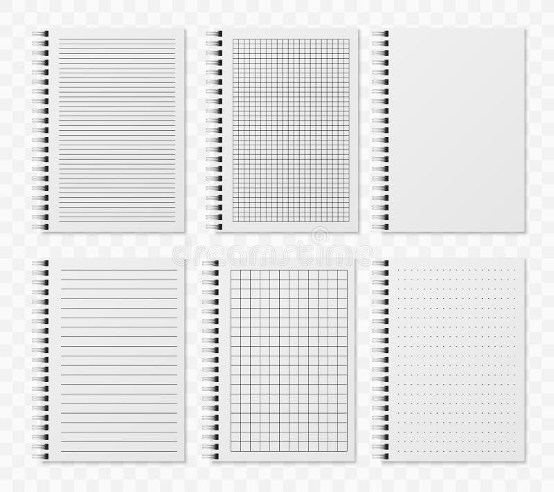 Linha realística notobooks Bloco de desenho acolchoado vazio do diário com pontos e linhas para moldes de escrita e paiting do ve ilustração royalty free