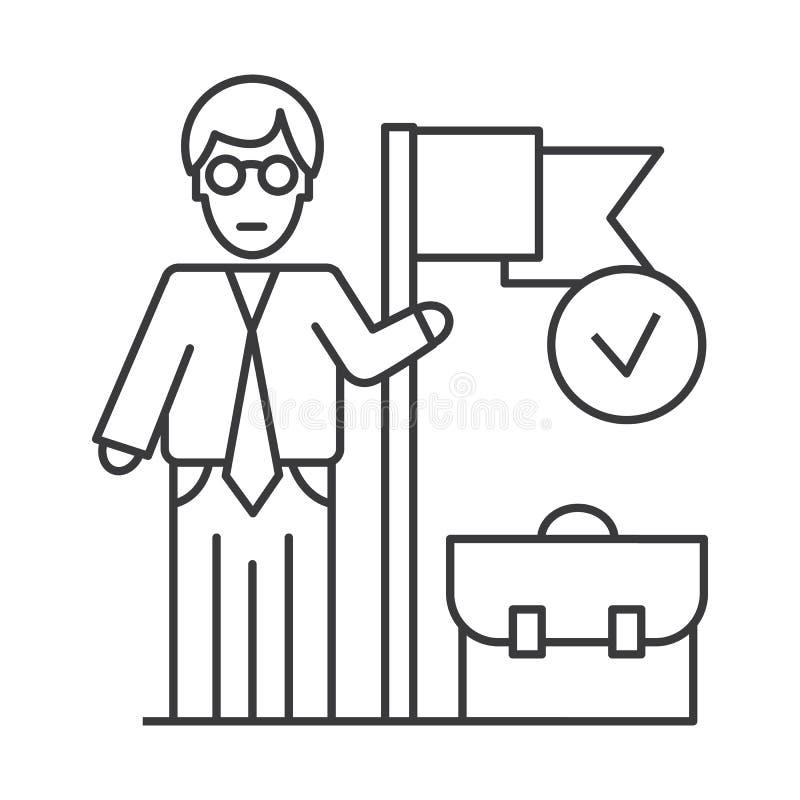 Linha realizada ícone do vetor da missão de negócio, sinal, ilustração no fundo, cursos editáveis ilustração do vetor
