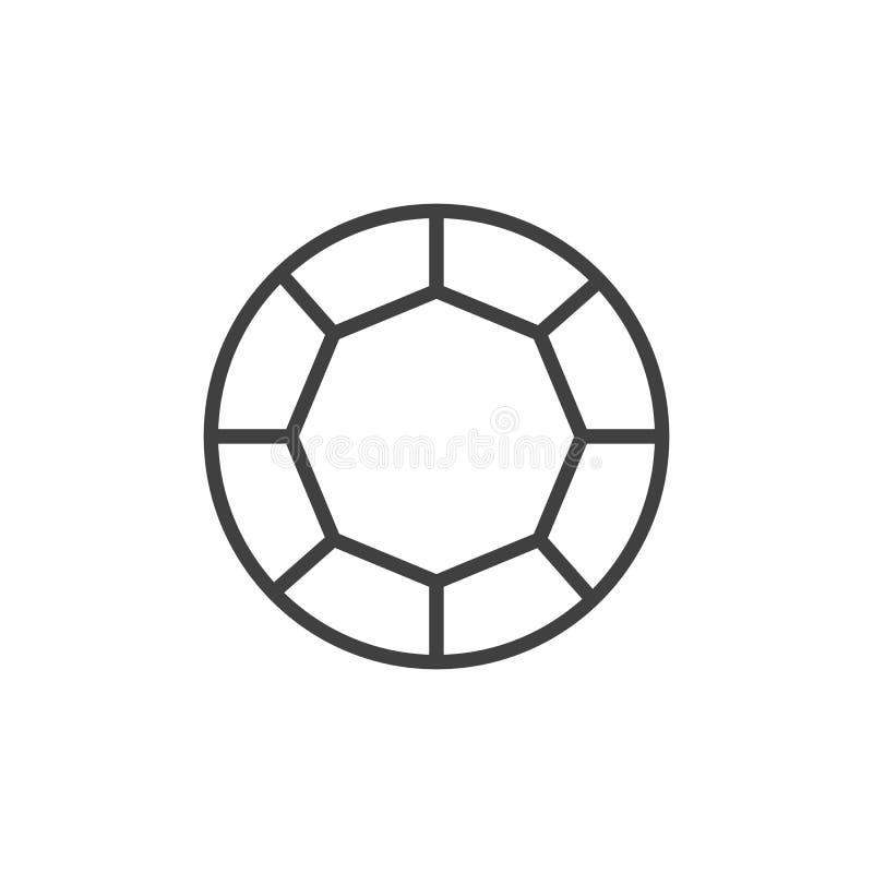 Linha redonda ícone do diamante ilustração do vetor