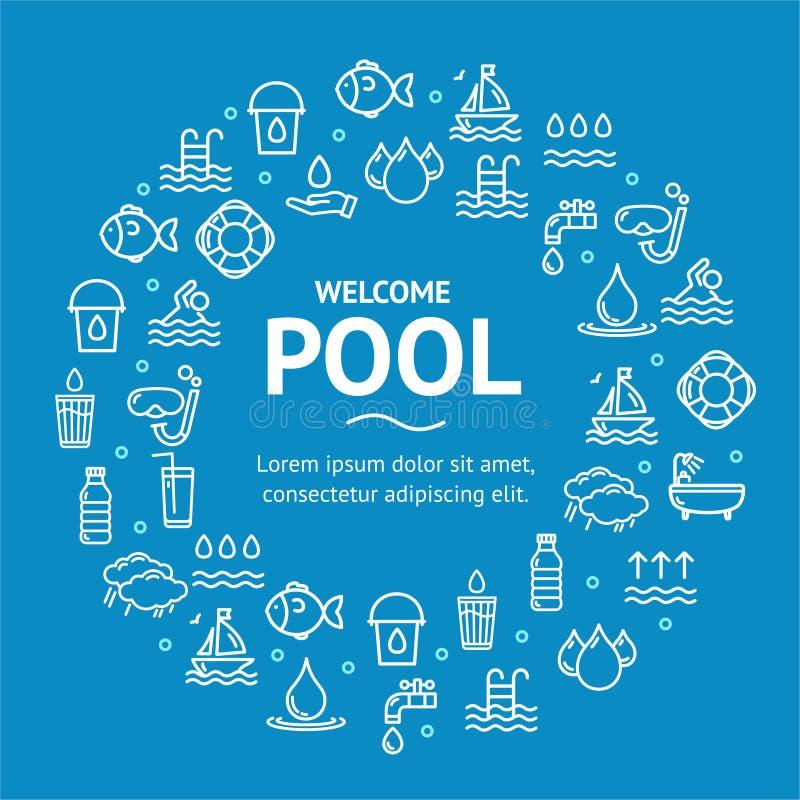 Linha redonda conceito do molde do projeto dos sinais da associação e da água do ícone Vetor ilustração royalty free