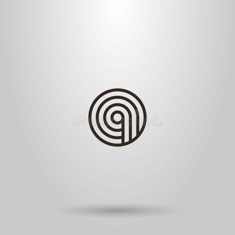 Linha redonda geométrica sinal do vetor simples da arte de três trajetos que andam em um círculo ilustração do vetor