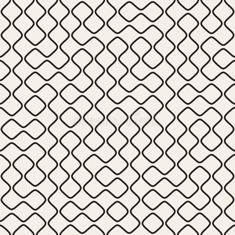 Linha redonda preto e branco sem emenda teste padrão geométrico do vetor da grade ilustração royalty free