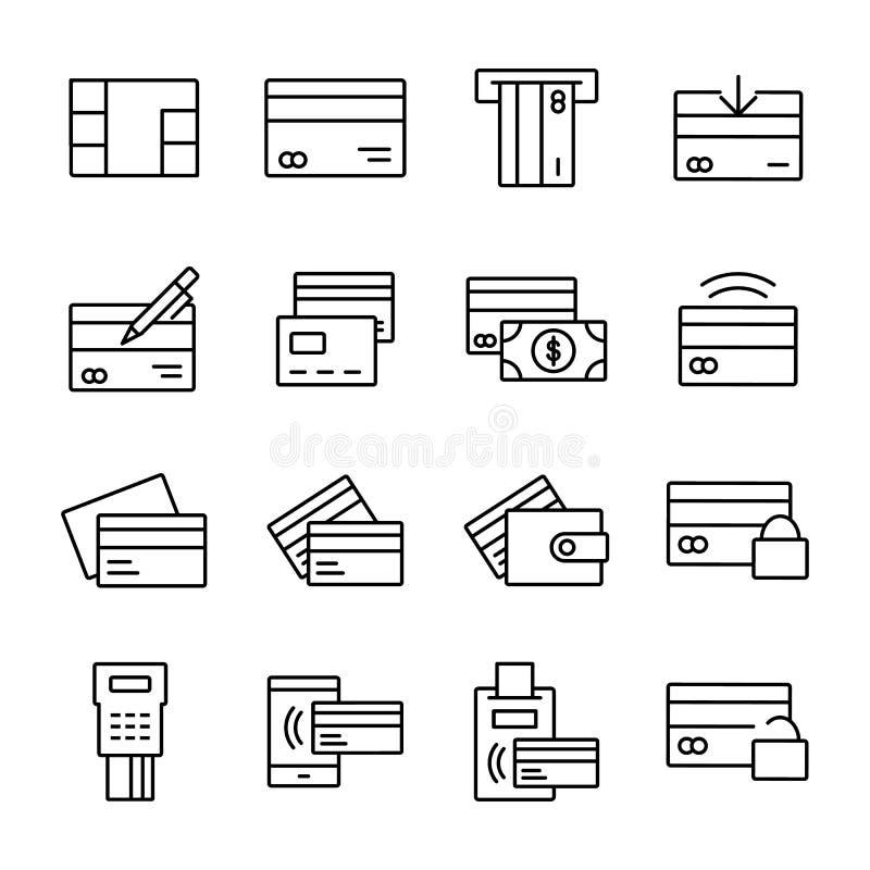 Linha relacionada ícones do vetor do cartão de crédito ilustração stock