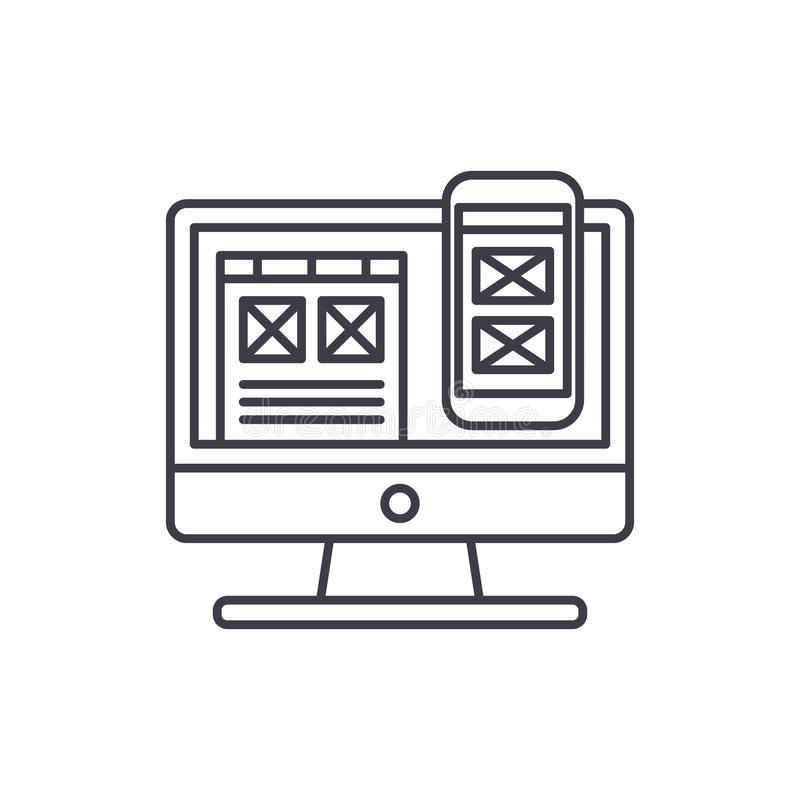 Linha responsiva conceito do projeto do app do ícone Ilustração linear do vetor responsivo do projeto do app, símbolo, sinal ilustração royalty free