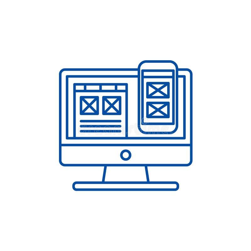 Linha responsiva conceito do projeto do app do ícone Símbolo liso do vetor do projeto responsivo do app, sinal, ilustração do esb ilustração stock